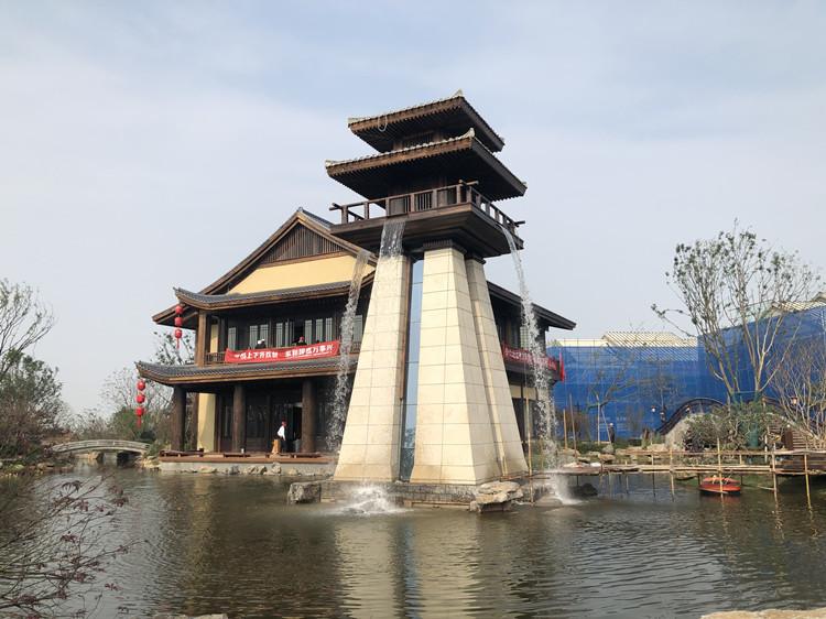 太白山依云小镇景观塔水系统——人工瀑布