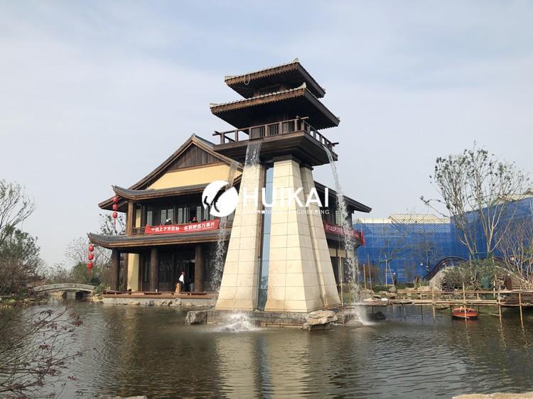 太白山依云小镇景观塔水系统——人工瀑布圆满竣工