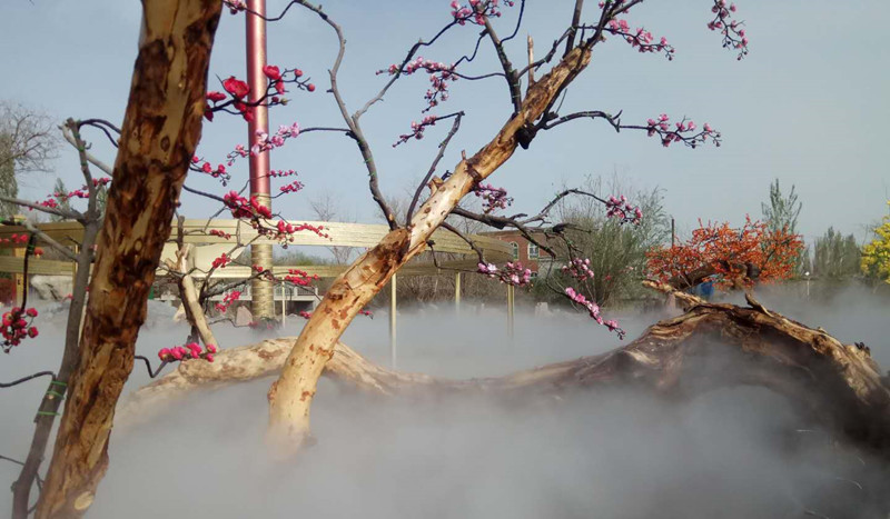 新疆旅游景点景观人造雾系统圆满竣工
